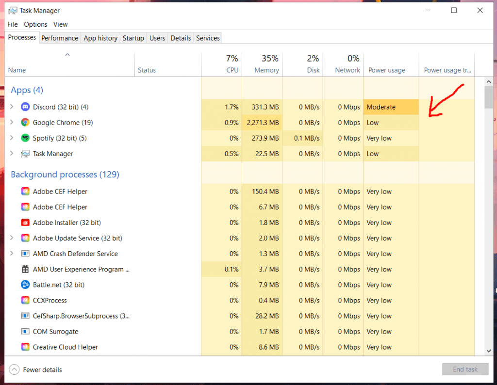 Task manager - Processes