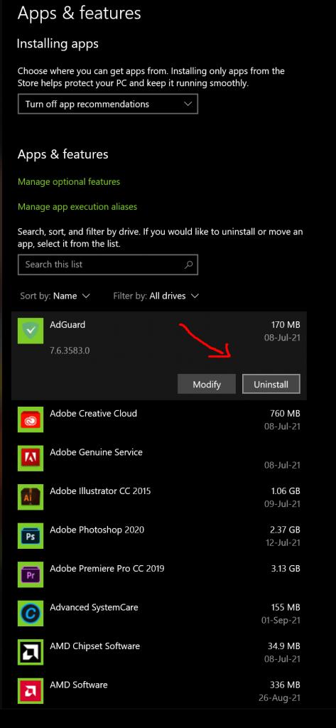 Apps and Features - Apps verwijderen