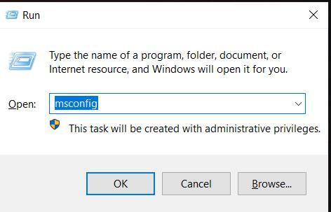 Windows Run - Msconfig