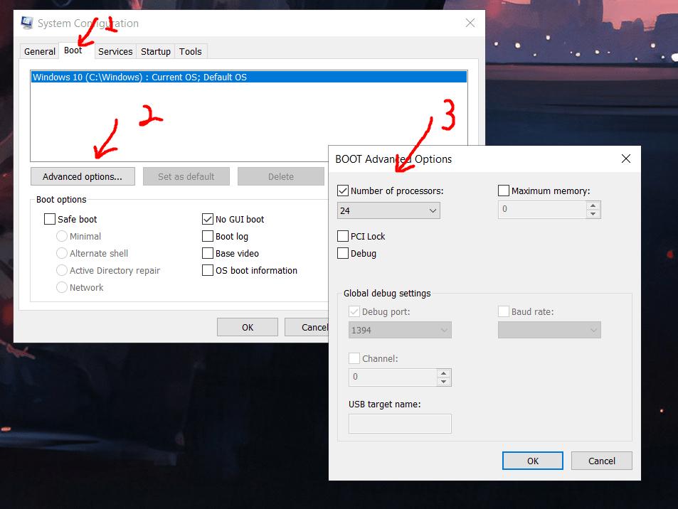 Msconfig, Boot advanced options